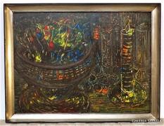 Tóth - Vissó Árpád Ikebanás csendélet Képcsarnokos festménye