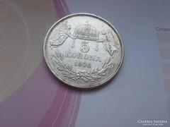 1908 ezüst 5 korona 24 gramm 0,900 Szép db,ritkább