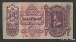 100 pengő 1930.  VF+!!  EXTRÉM ALACSONY, 11-es sorszám!!!