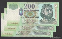"""200 forint 2004. """"FA"""" ! 3 db sorszám követő! UNC !"""