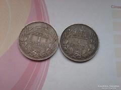 1914,1915 magyar ezüst 1 korona szép patinával
