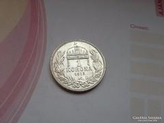 1915 ezüst 1 korona.magyar gyönyörű,verdefényes darab!!!