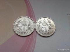 1914,1915 ezüst 1 korona verdefényes darabok