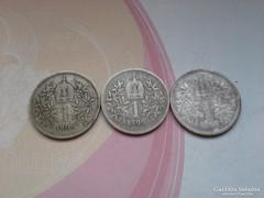 1898,99,1900 ezüst 1 koronák patina ritkább