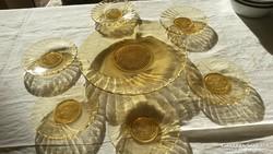 Art deco méz sárga üveg süteményes tányér gyönyörű