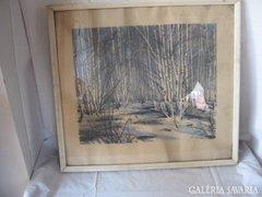 Orosz festő alkotása , téli erdőbelső festmény