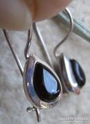 925 ezüst fülbevaló fekete onix, biztonsági kapocs