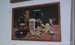 Konyhába, konyhai eszközök, festménye