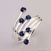 Különleges fazonú kék köves gyűrű ezüstözött 7-es ÚJ!