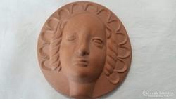 Kerámia női arc falidísz
