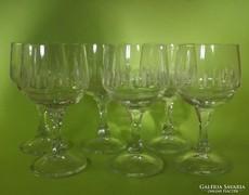 Csiszolt üveg boros pohár 6 db