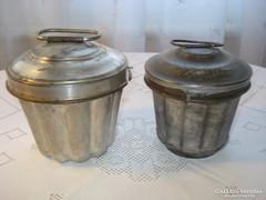 2 db, antik fedeles cukrászati eszköz, kuglóf sütőforma