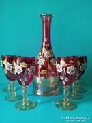 Kézzel festett Bohémia boros készlet