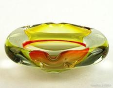 0K675 Fújtüveg BOHEMIA művészi üveg hamutál 15 cm