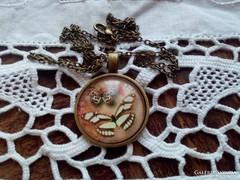 Gyönyörű tibeti ezüst lánc vintage medállal