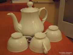Cakkos,bordázottan pocakos porcelán teáskancsó,3db.teás csésze + 3db. alátét kistányér.