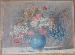 Színpompás vadvirágok csokorban, jelzéssel, olaj-vászon