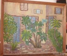 Marta Sebos: Ház előkerttel, olaj-vászon jelzett 1965-ből