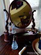Antik faragott ,fiókos pipere tükör,asztali!!