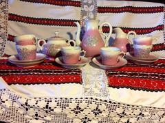 Antik bieder biedermeier 19. századi teás készlet