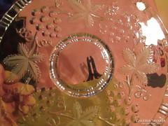 Anyagában levél mintás üveg tortás süteményes tál A036