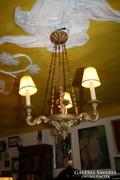 Hársfából faragott, festett arany - 3 ágú - csillár