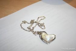 925 ezüst nyakék nyaklác gyöngyház szív medállal