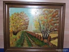Őszi tájkép/olaj-farost/festmény jelzett