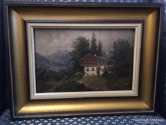 Antik osztrák gyönyörű romantikus tájkép:Payerbach látképe
