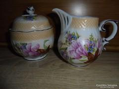 Kézzel festett virágos cukortartó és tejkiöntő