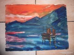 Vitorlások naplementében, akvarell