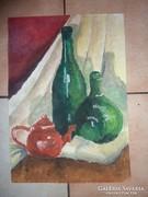Csendélet üvegekkel és teáskancsóval, olaj-karton