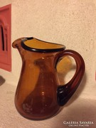 Borostyán színű üveg kiöntő, vastag üveg (5)