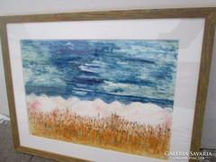 Ismeretlen festő - kartonra kasírozva 65x51 cm Absztrakt fes