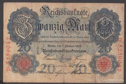 1908. Reichsbanknote, 20 R.Mark.