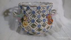 Áttört porcelán kaspó altwien jelzéssel
