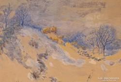 0C200 Strauss Pál jelzéssel : Téli tájkép 1924