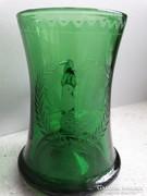 Antik üveg bögre vésett, savmart mintával