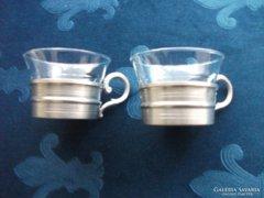 Kassack-Zinn Germany újszerü  ón csésze,eredeti Jénai üvegbetéttel-2db