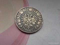 1909 ezüst 5 korona 24 gramm 0,900 ritkább,gyönyörű patináva