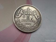 1909 ezüst 5 korona 24 gramm Magyar,Ritkább