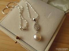 Ezüst nyaklánc, tenyésztett gyöngy ezüst medállal - új ékszer