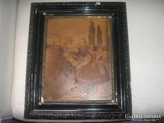 Intarzia színes lovas kép,részletgazdag