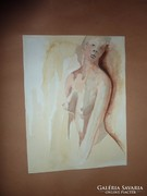 Lány félakt, akvarell, jelzés nélkül