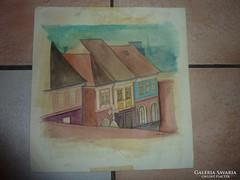 Régi utcakép, akvarell, jelzéssel