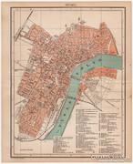 Szeged város térkép 1898, antik, eredeti