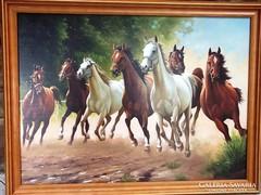 Művésznyomat kerettel Ló imádóknak is-új, ajándékba is