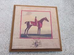Angol lovas-ló nyomat falapra kasírozva 18x18 cm