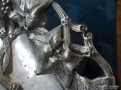 Szecessziós dombor trébelt-poncolt borostyán mintás tál-28cm