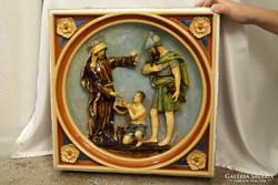 Zsolnay pirogránit nagyméretű fali dísz